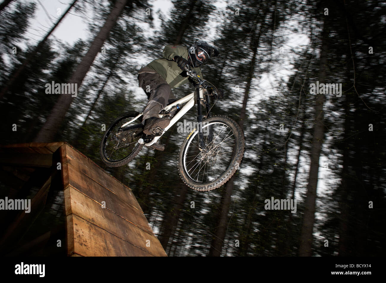 A Mountain Bike Rider Tackles A Black Run At Sherwood Pines