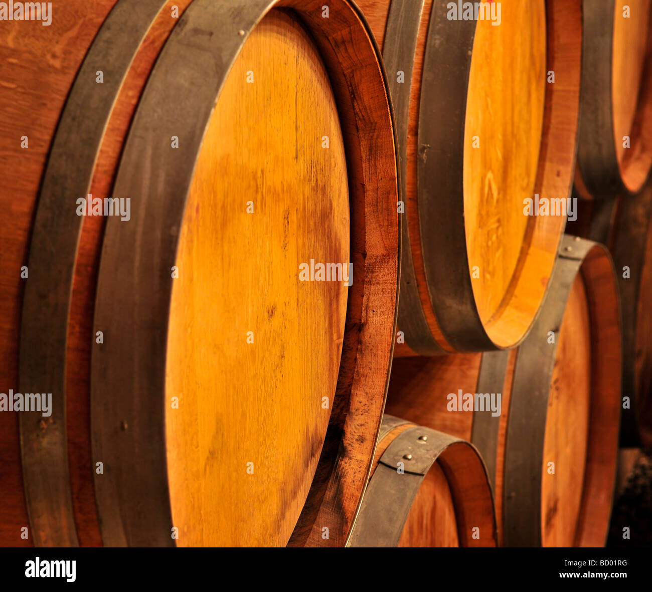 oak wine barrels. stacked oak wine barrels in winery cellar i