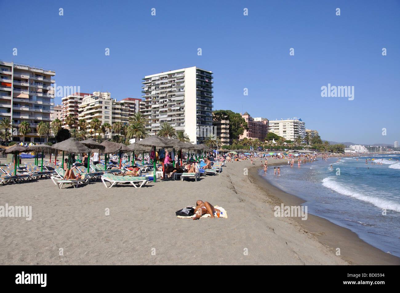 Playa de la Bajadilla, Marbella, Costa del Sol, Malaga Province Stock Photo, ...