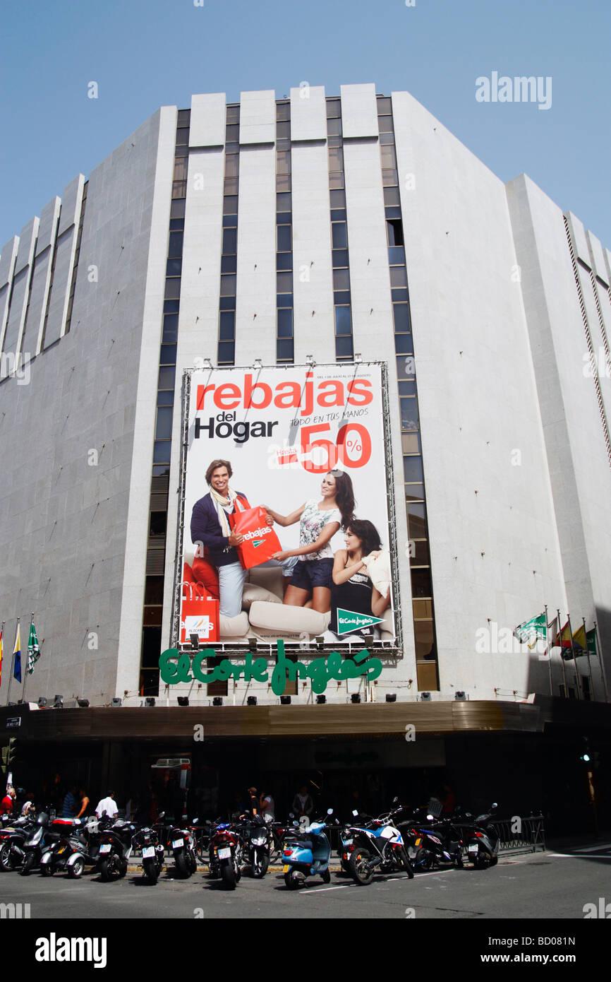 Rebajas sale sign over entrance to el corte ingl s department store stock photo royalty free - El corte ingles stores ...