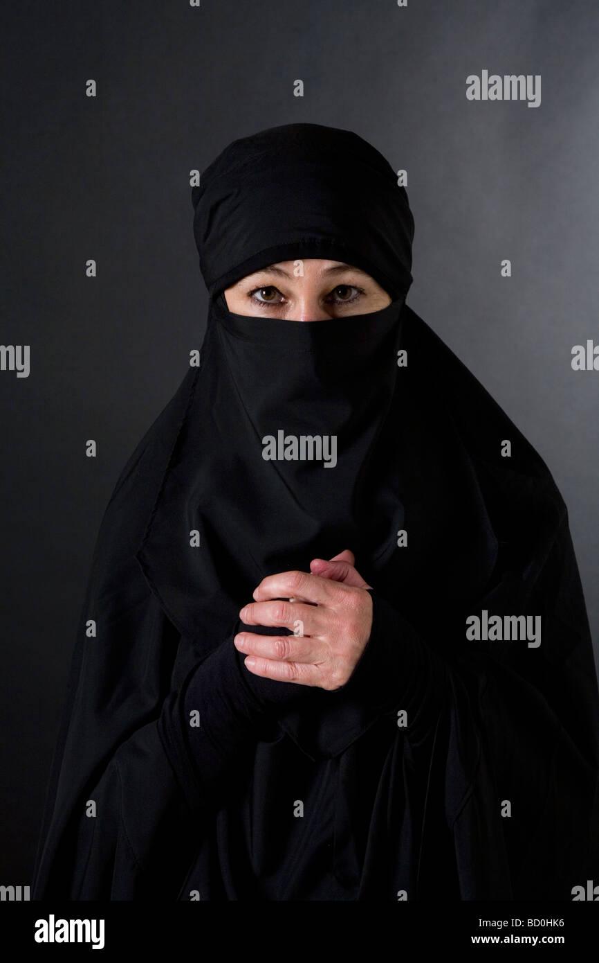 Islamic muslim woman wearing a burqa niqab burka Stock ...