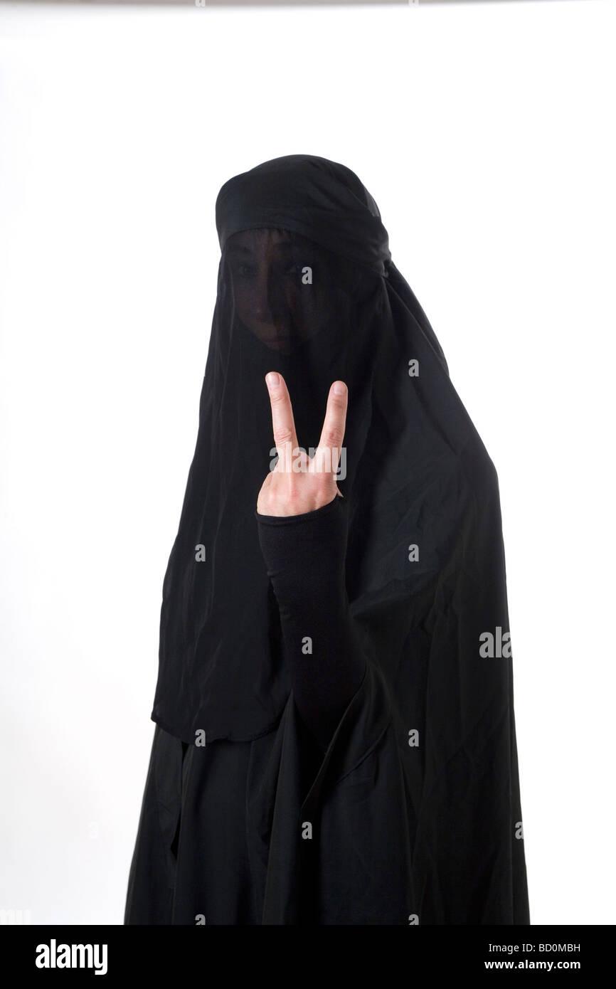 Islamic muslim woman wearing a burqa niqab burka and ...