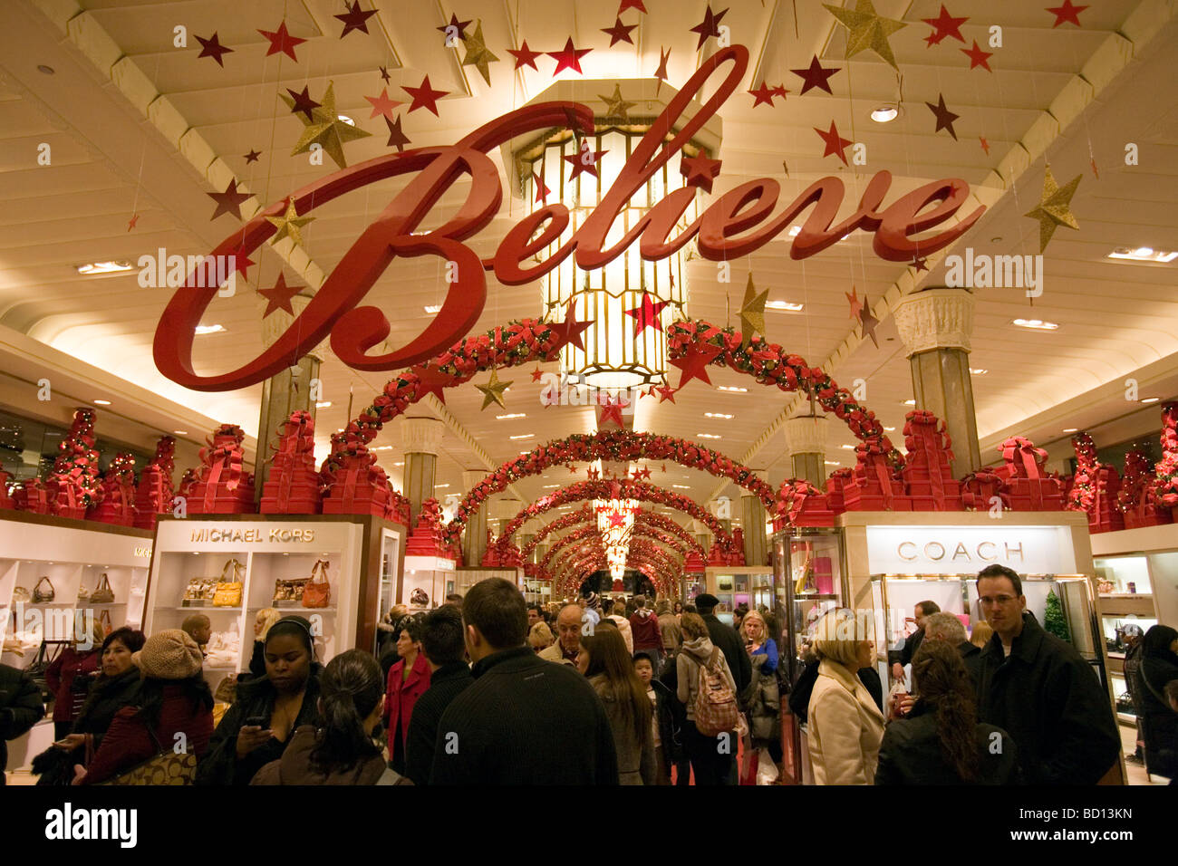 Believe Christmas sign in Macy s in Herald Square in New York City ...
