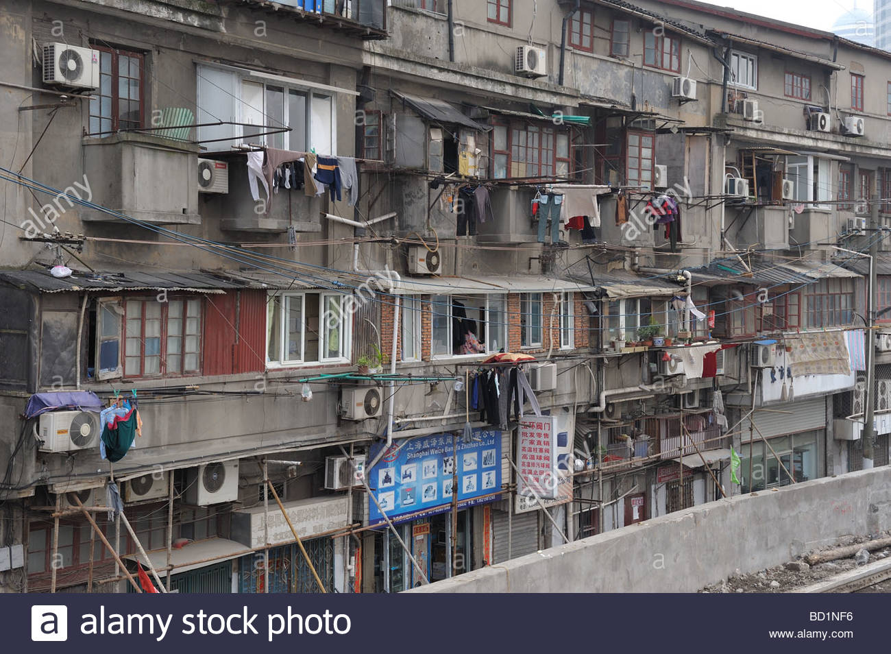 Dirty Old Building In Shanghai China 2009 Washed Clothes