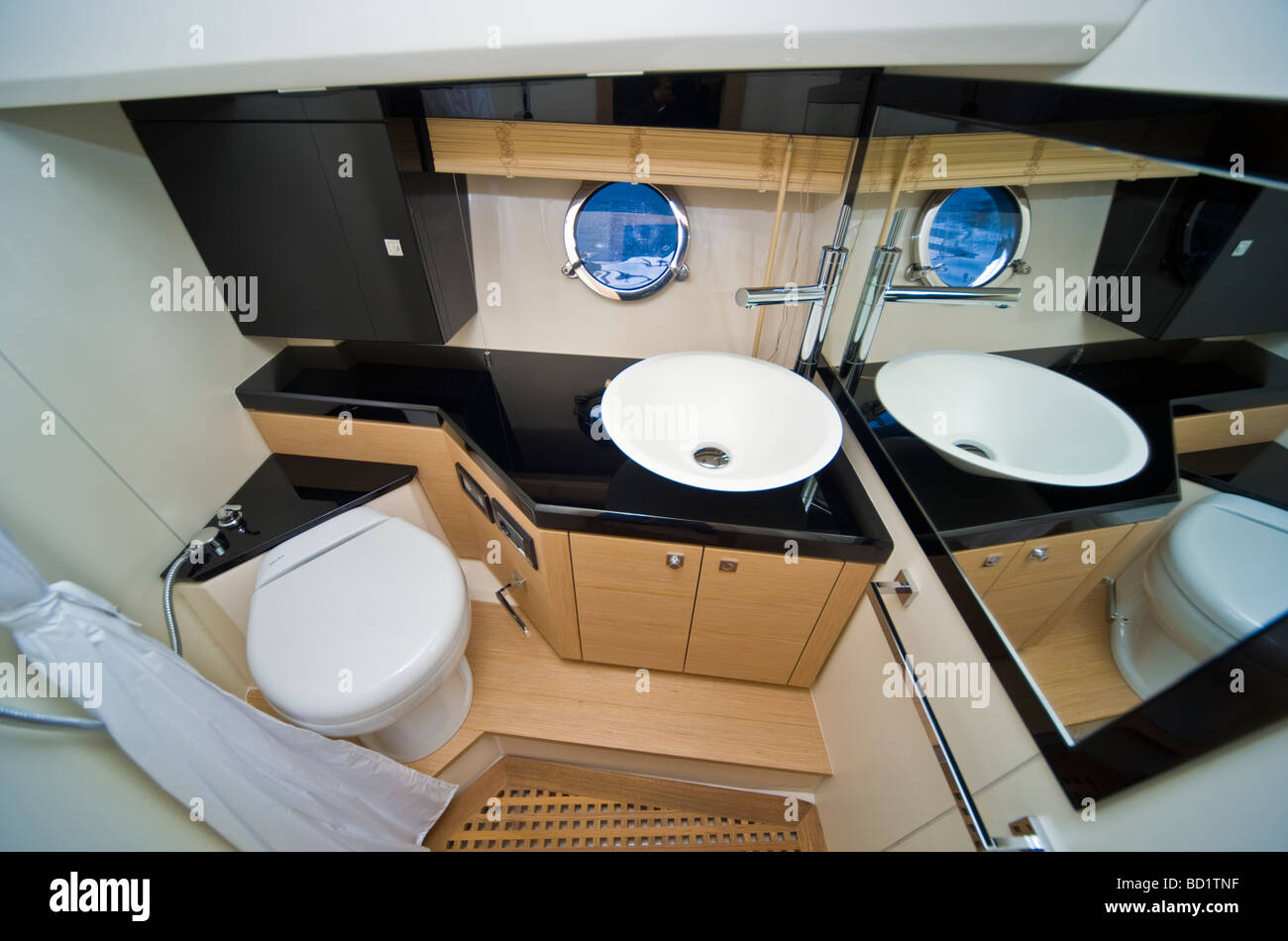 Bathroom In A Sessa Key Largo 36 Powerboat With Modern Interior Design