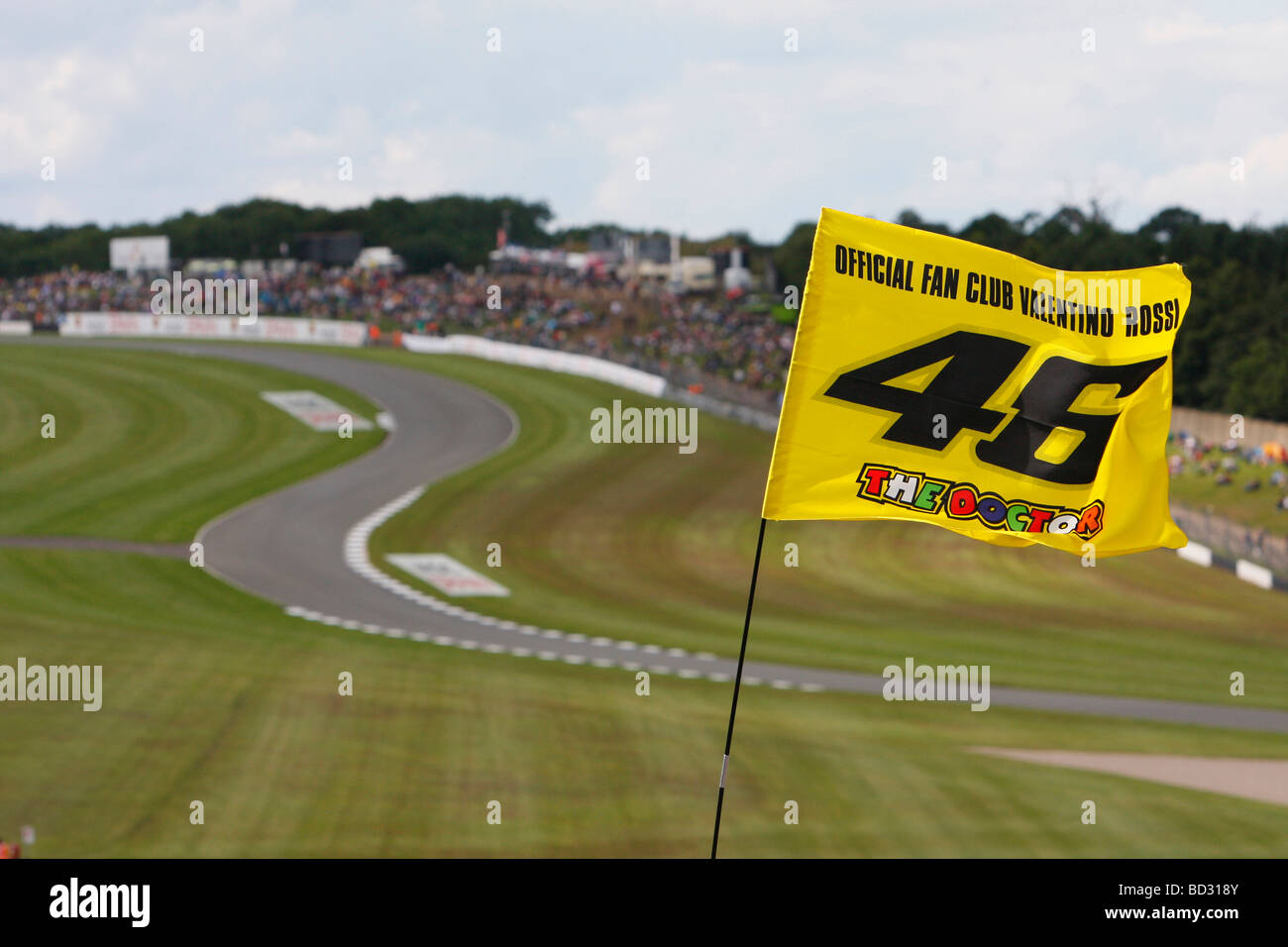 Valentino Rossi Fan Club Flag With Craner Curves In The Background At Stock Photo, Royalty Free ...
