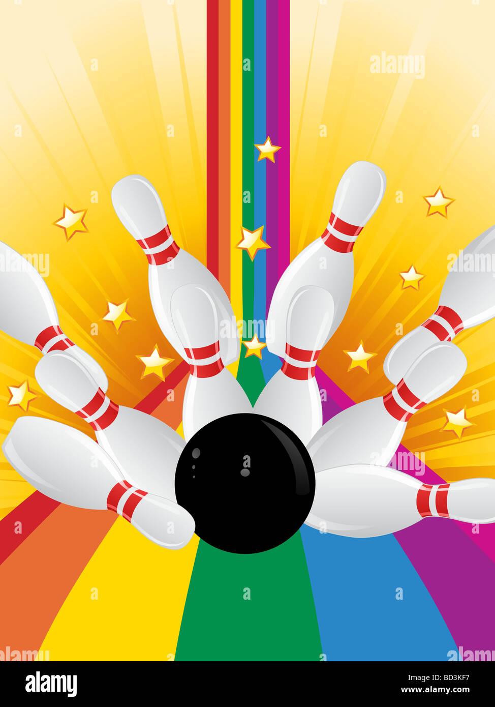 Bowling Ball Knocking Over Bowling Pins On A Rainbow