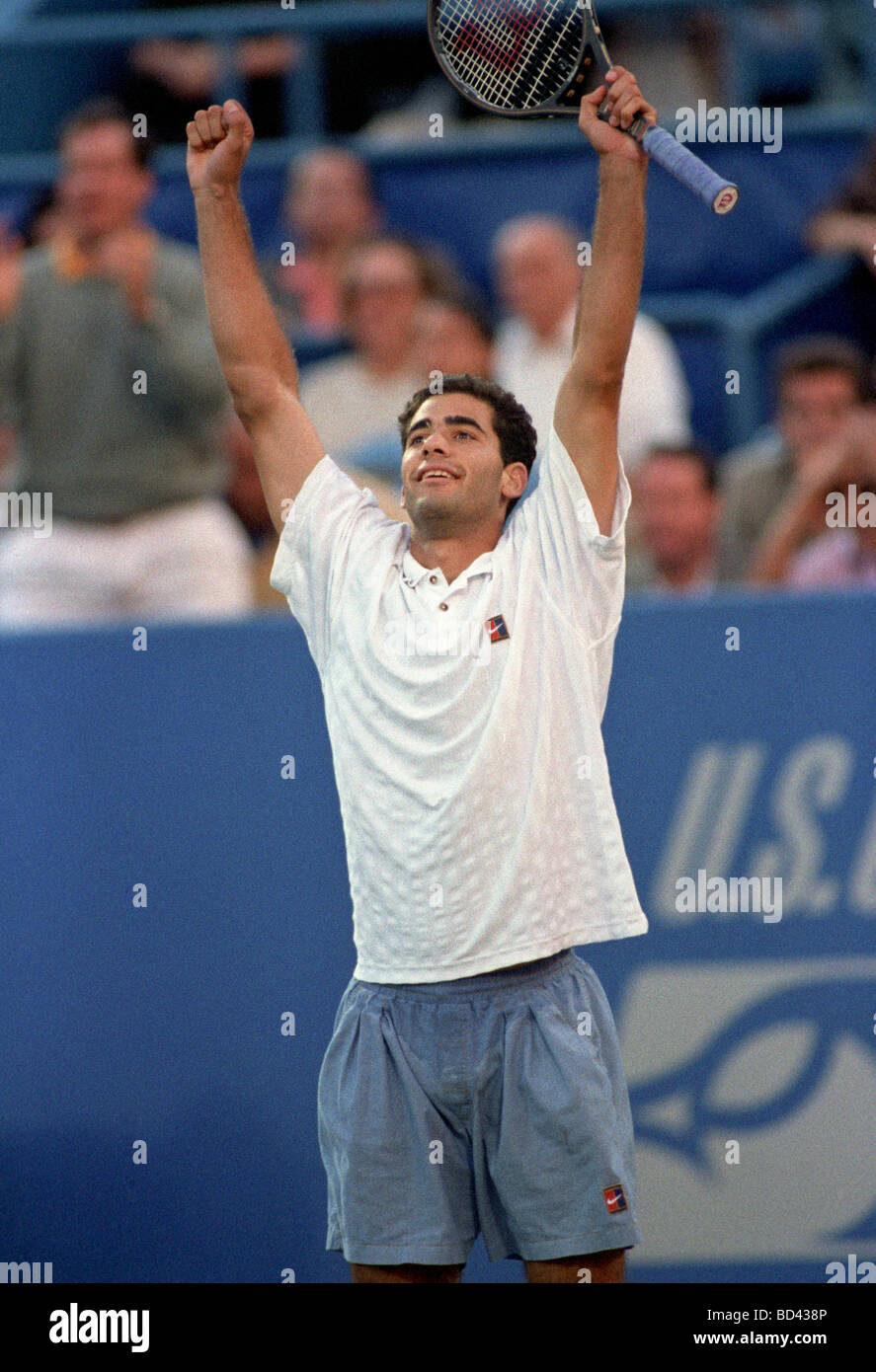 Pete Sampras USA celebrates his victory at the 1995 US Open Tennis