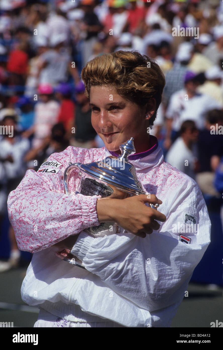 Monica Seles USA at the 1991 US Open Tennis Championships Stock