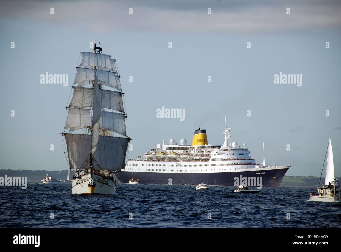 The Astrid Brig Ship And Saga Ruby Cruise Ship Funchal 500 Tall Stock Photo Royalty Free Image ...