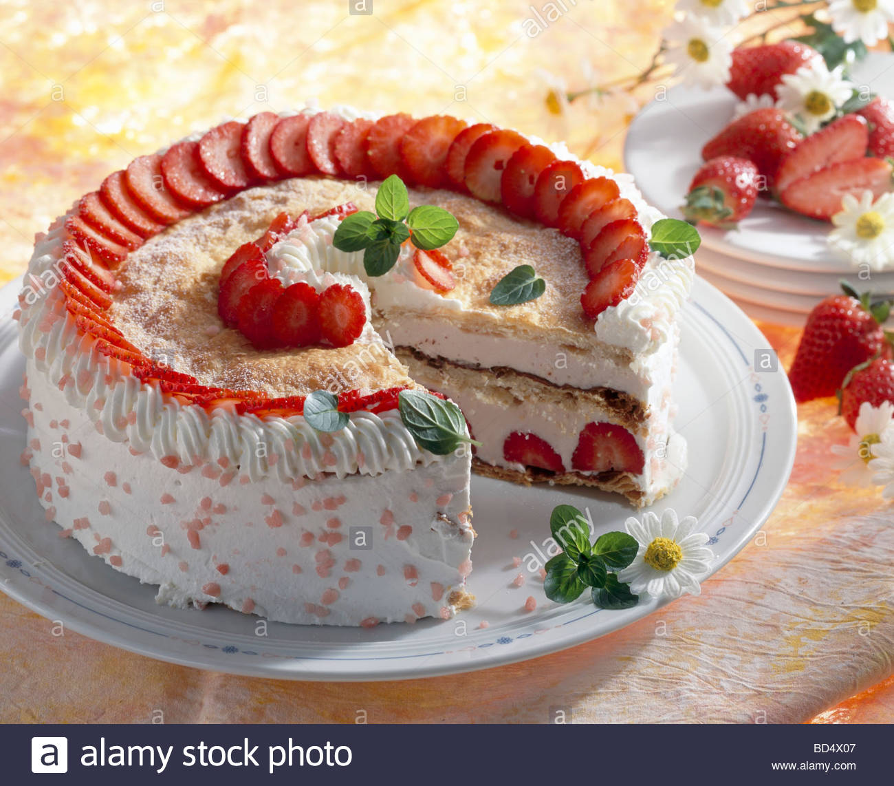 Stock Photo Strawberry Gateau With Cream Puff Pastry A Piece Taken