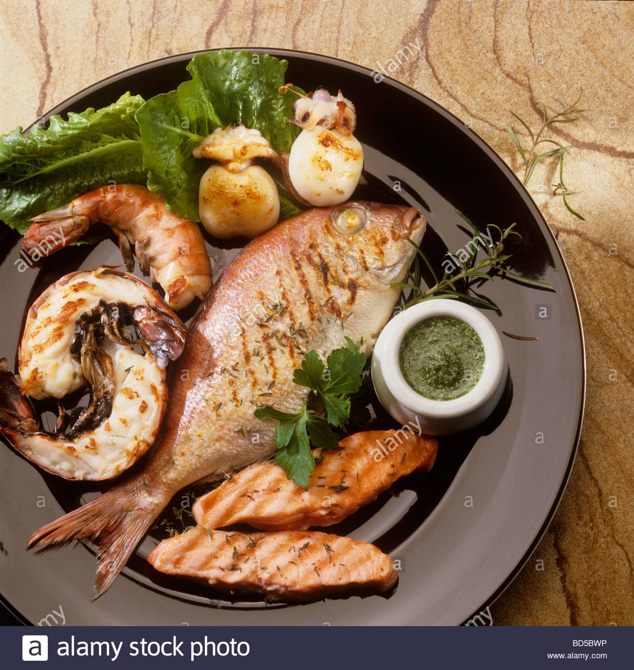 Fish and seafood platter stock photo royalty free image for Fish and seafood