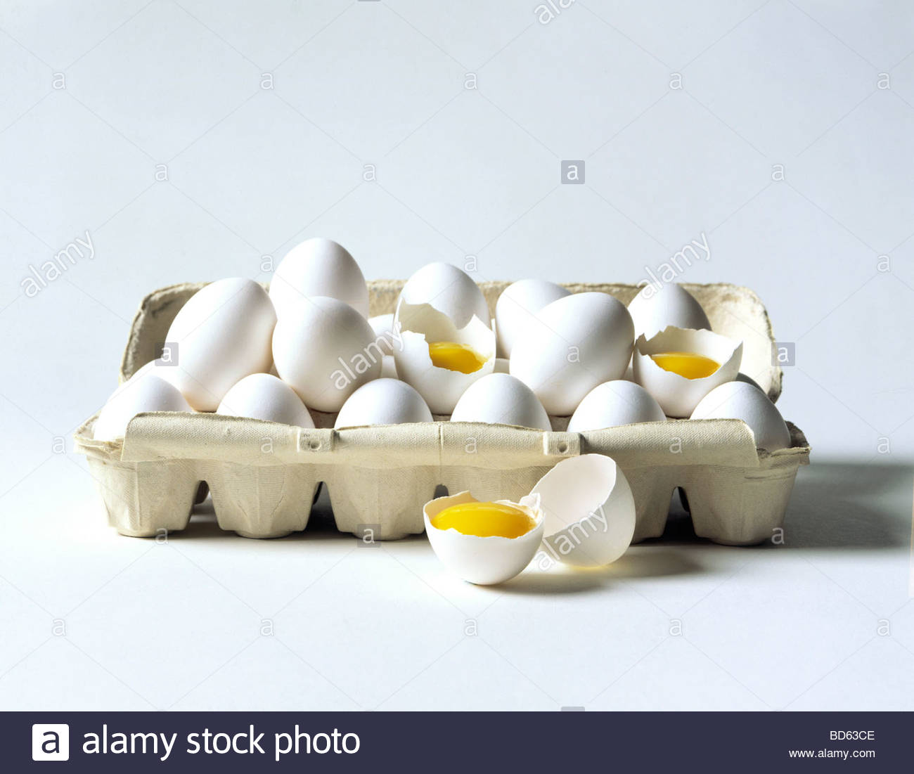 Cracked Eggs In Carton Stock Photo, Royalty Free Image: 25335310 ...