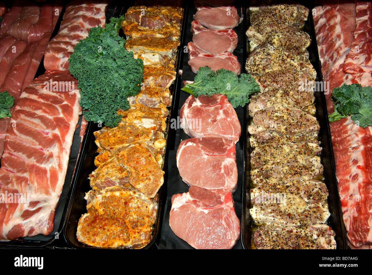 Meat Display Cooler Case With Raw Uncooked Pork Products