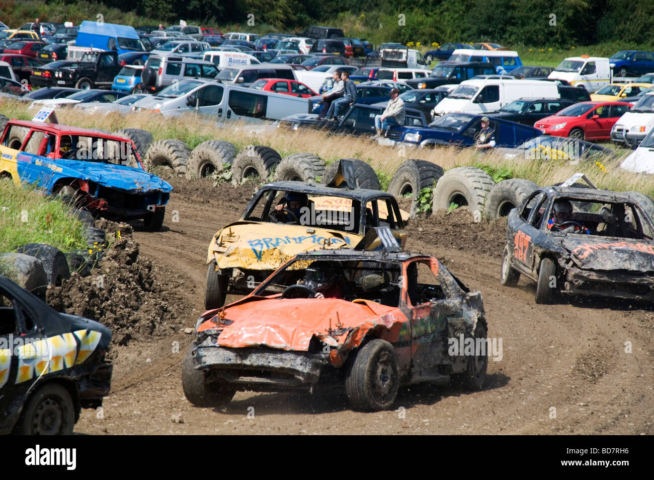 Car Crash Crashing Cars Banger Racing Stock Dirt Track Mud Muddy