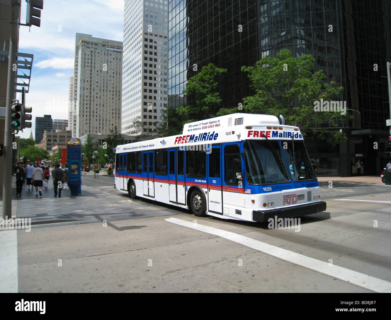 Bus On 16th Street Mall Denver Colorado Stock Photo