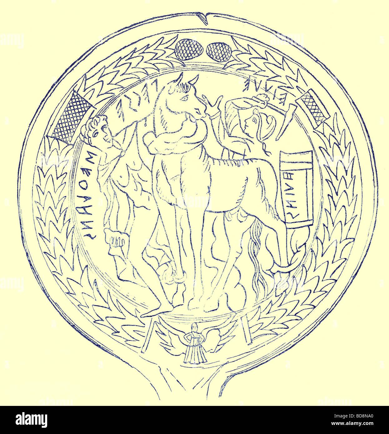 hephaistos and epeios constructing the trojan horse illustration