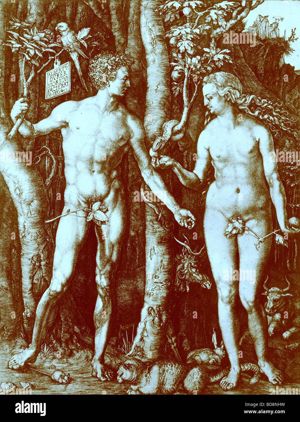 adam and eve 1504 from reproduction in albrecht durer kupferstiche