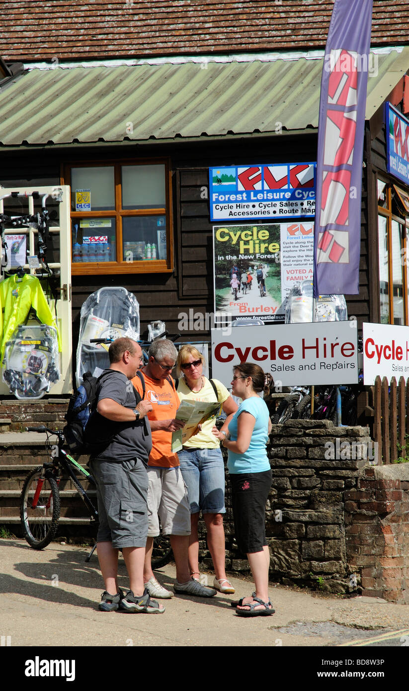 Cycle rental hire shop in Burley village centre New Forest