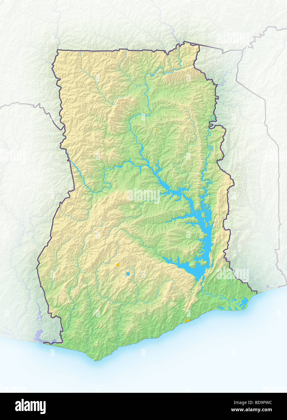 Ghana Shaded Relief Map Stock Photo Royalty Free Image - Map of ghana