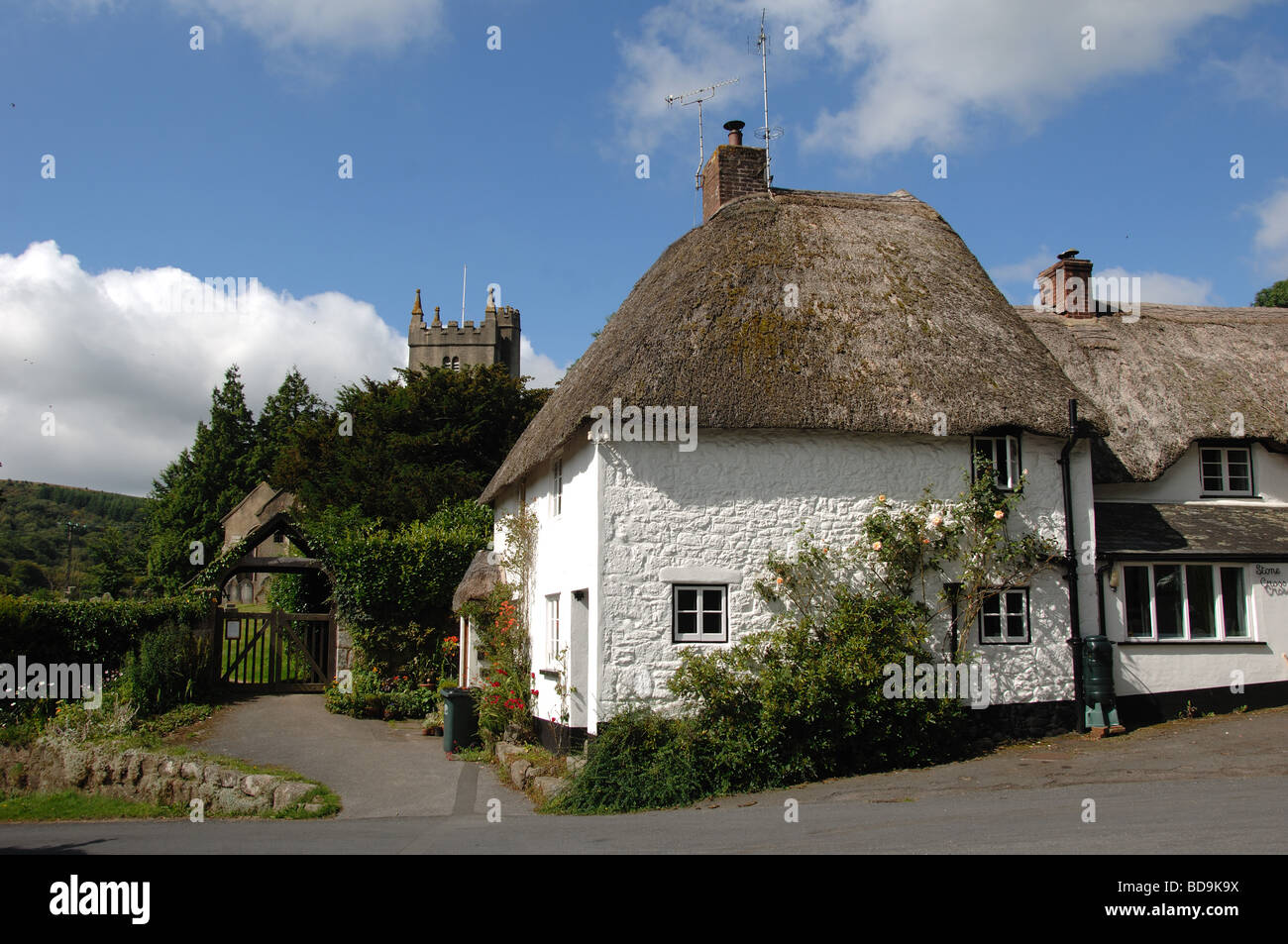 Thatched Cottage And Church In North Bovey Village Dartmoor
