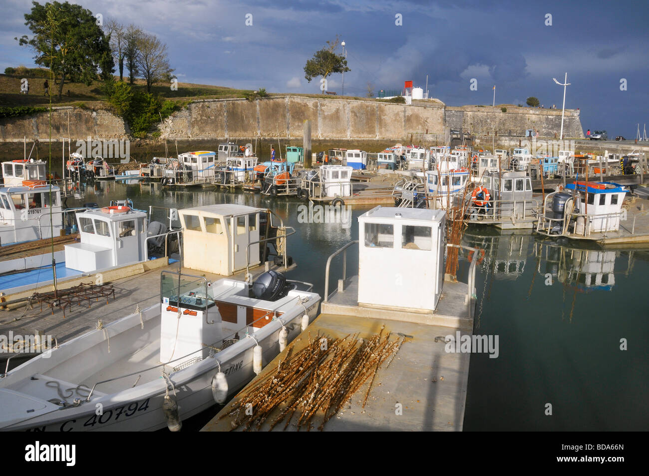 le chateau d oleron fishing harbour ol ron island france stock photo royalty free image. Black Bedroom Furniture Sets. Home Design Ideas