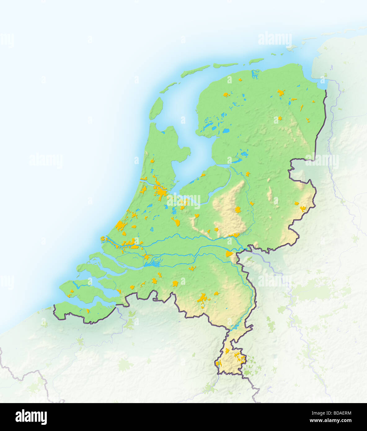Netherlands shaded relief map Stock Photo Royalty Free Image