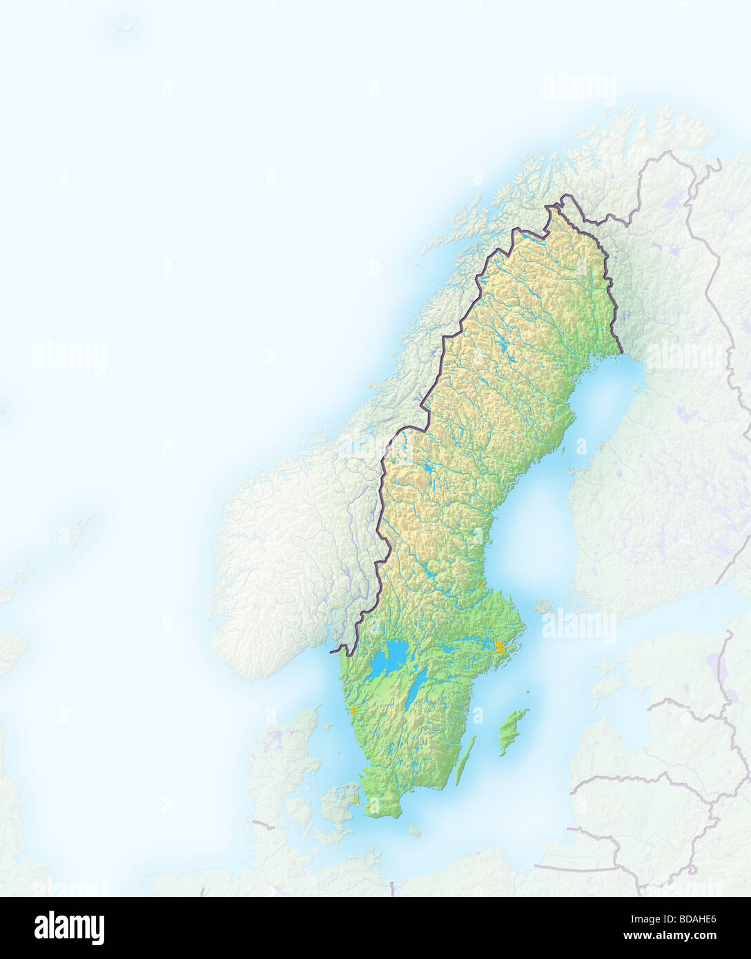 Sweden Shaded Relief Map Stock Photo Royalty Free Image - Sweden relief map