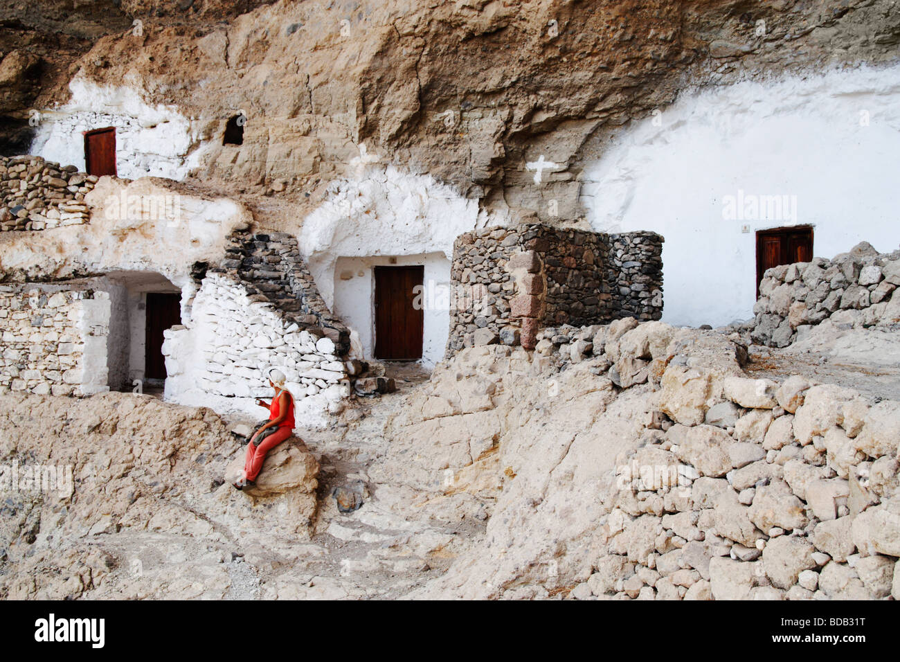 Cave Houses On Gran Canaria On The Canary Islands Stock