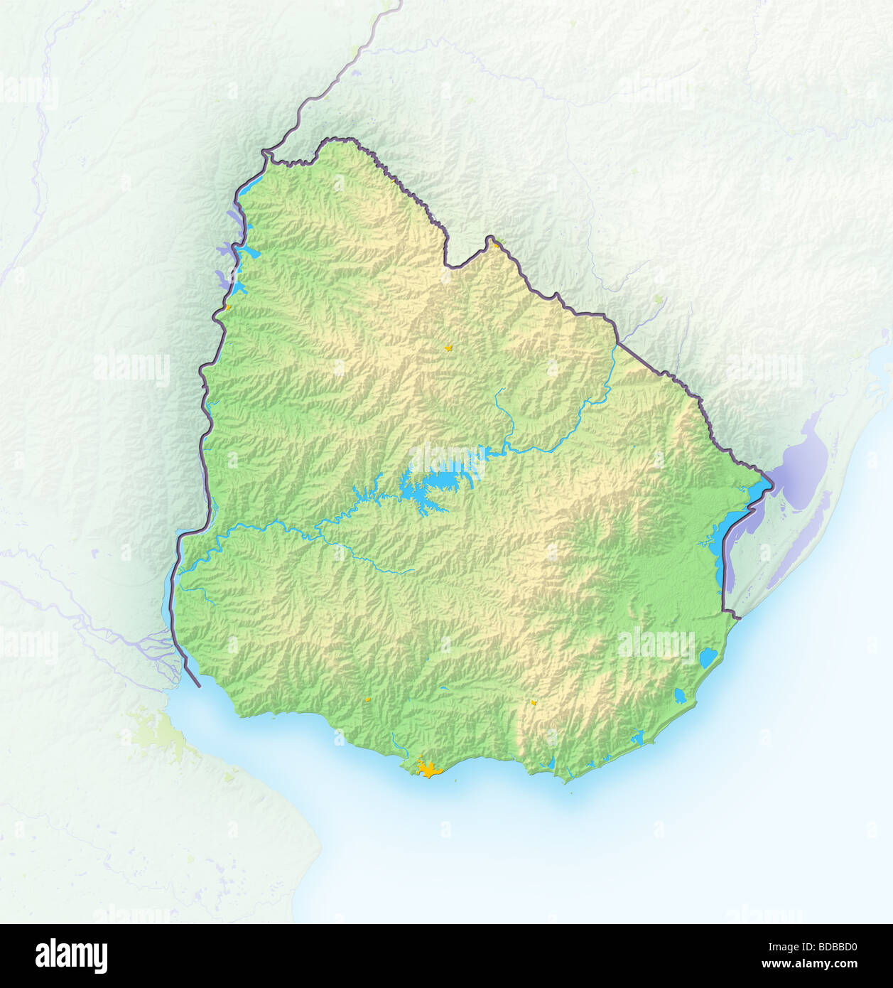 Uruguay Shaded Relief Map Stock Photo Royalty Free Image - Uruguay relief map