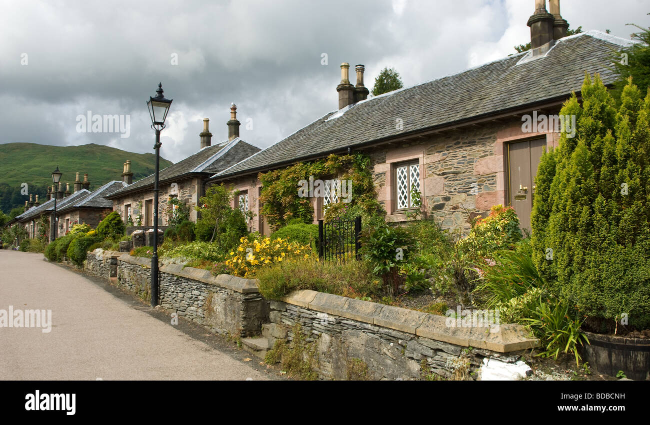 Stone Cottages Built To House Mill And Slate Workers In The Scottish Village Of Luss