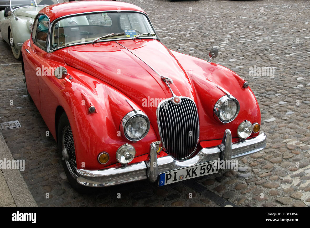 A Red German Registered Jaguar XK150 Sports Car Parked In Richmond Nort  Yorkshire Summer 2009