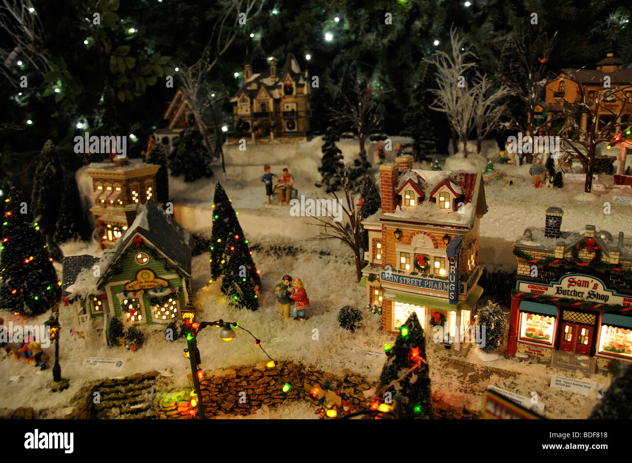 miniature christmas village toy houses decorations stock photo royalty free image 25536484 alamy. Black Bedroom Furniture Sets. Home Design Ideas