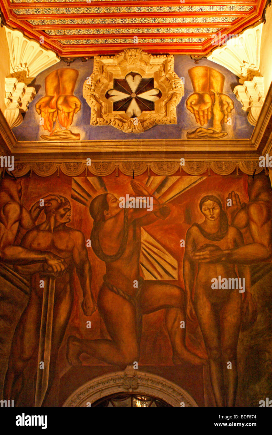 Mural by jose clemente orozco in in the stairwell of for House of tiles mexico city