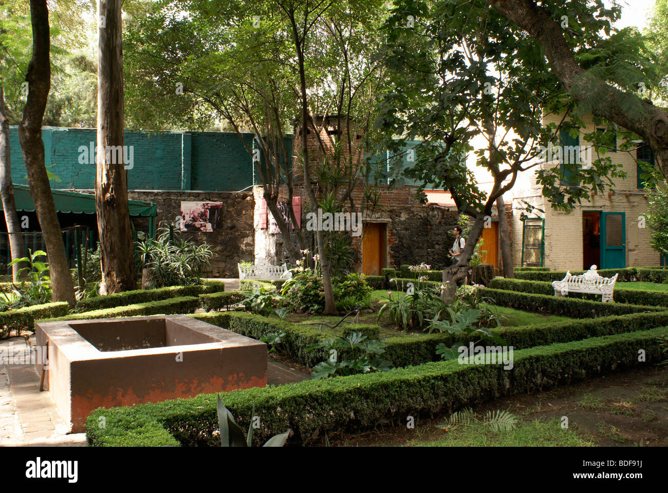 interior garden. Interior garden of the Museo Casa de Leon Trotsky or House  Museum in Coyoacan Mexico City