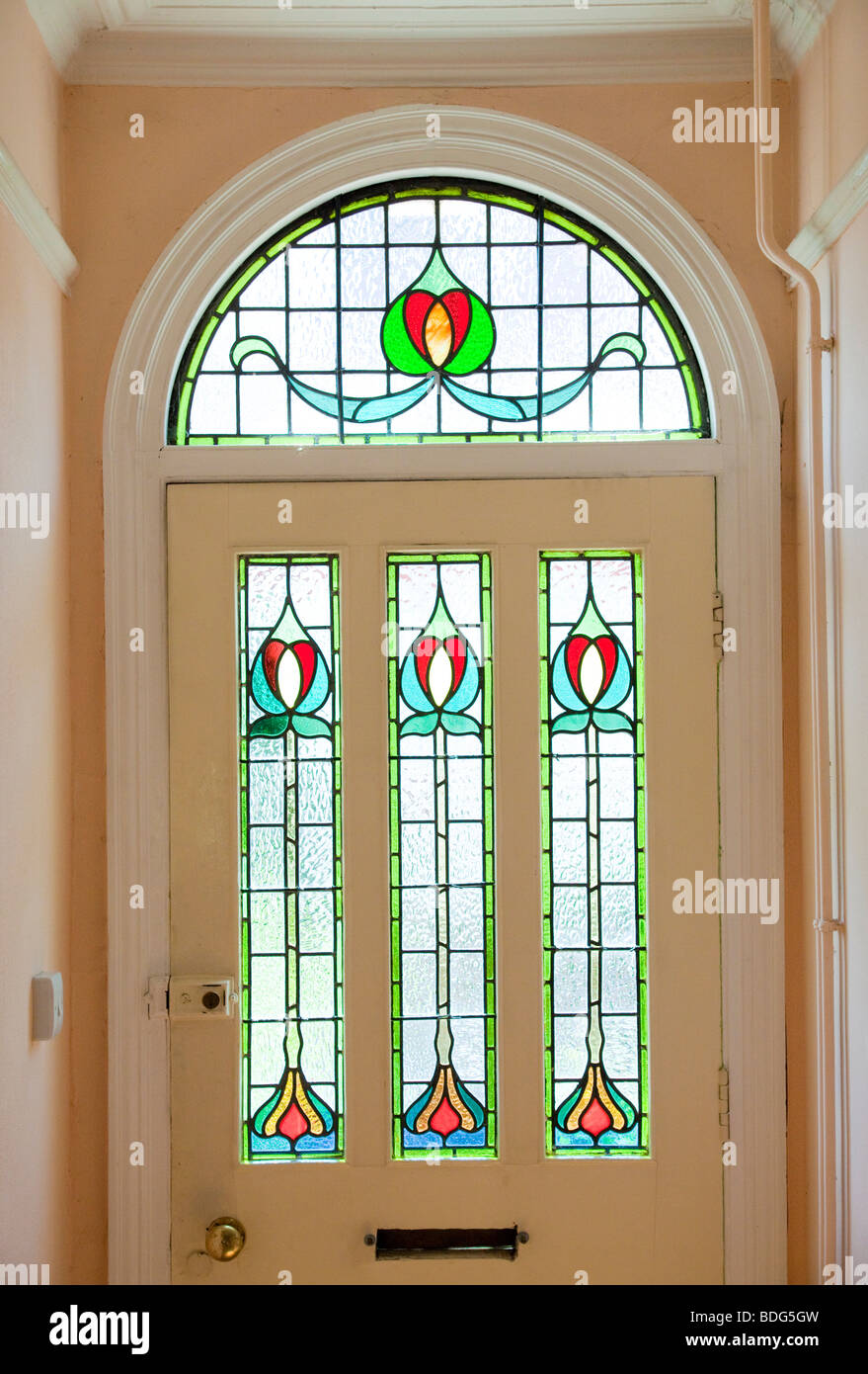 Victorian style front door with stained glass stock photo for Decorative window film stained glass victorian
