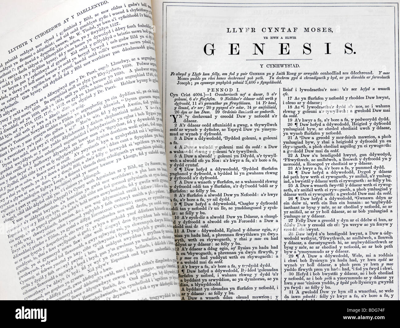 christian welsh bible open on the first page of the book of