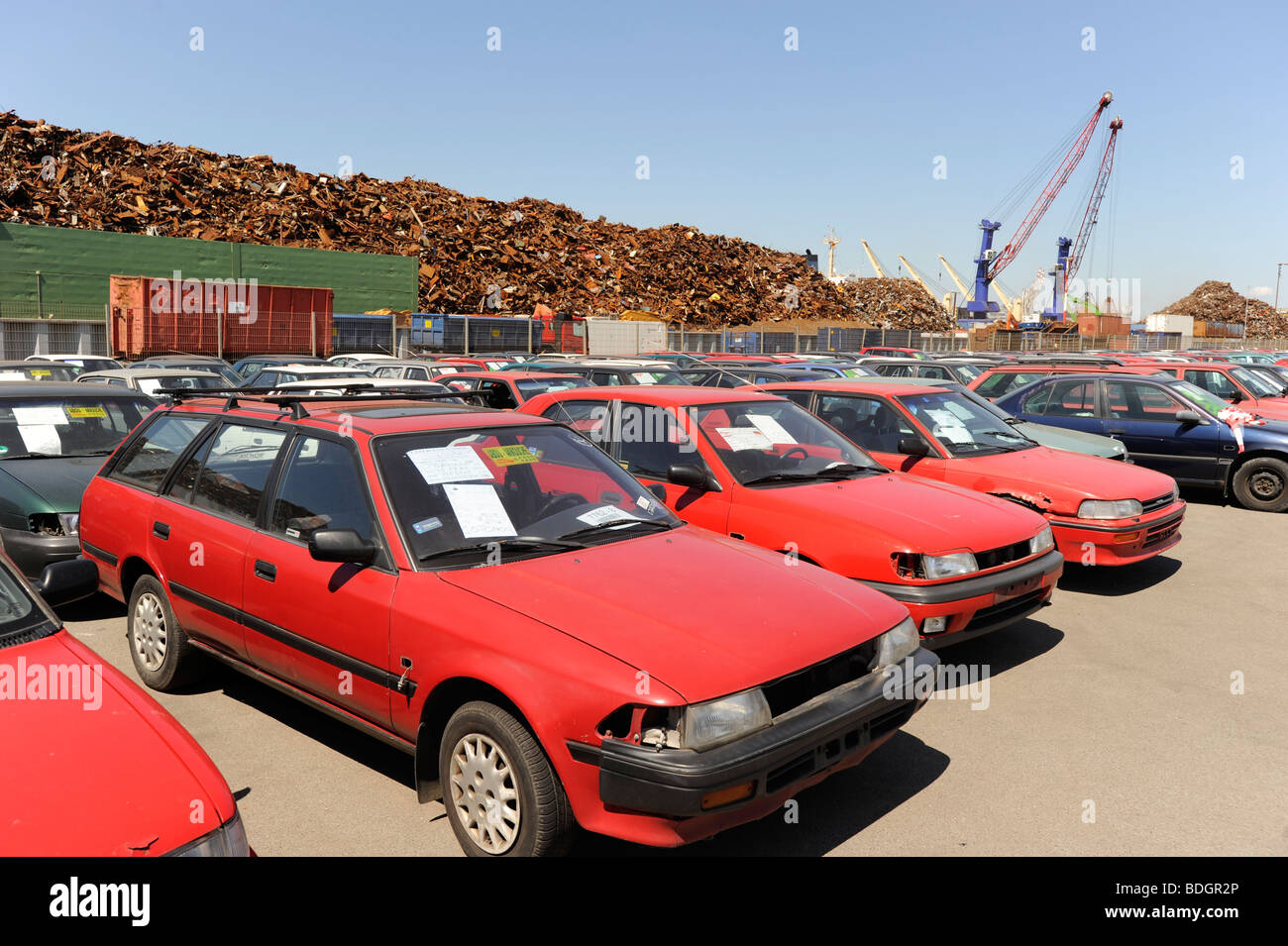 Germany Hamburg , used old cars await export to africa Cotonou ...