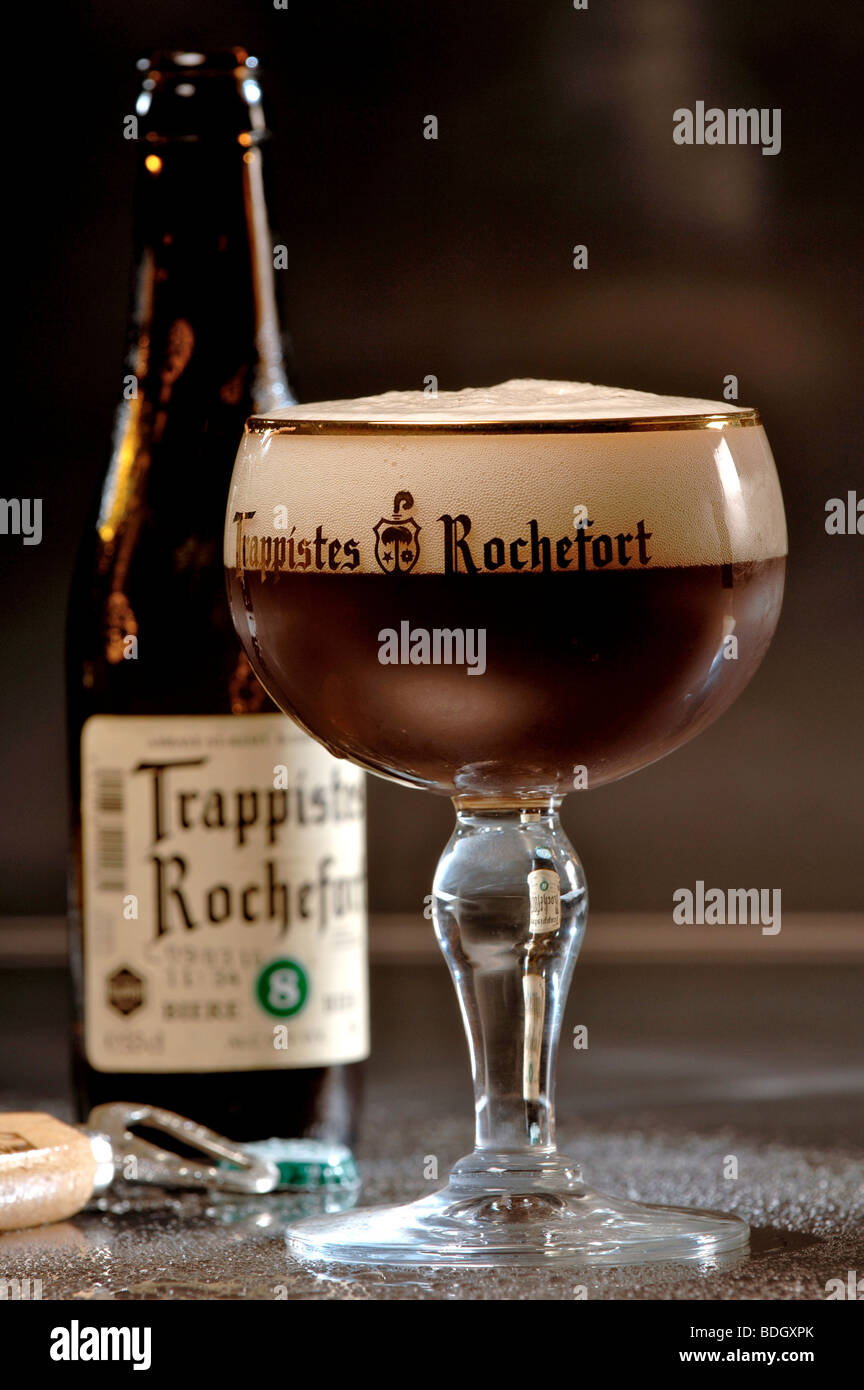 Glass of Trappistes Rochefort Belgian beer Stock Photo ...