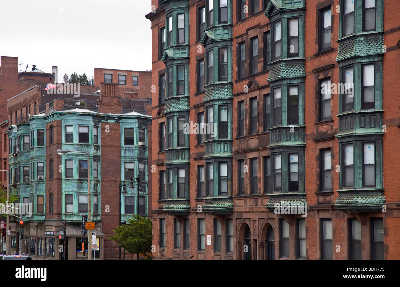 Apartment Building Boston brick apartment buildings - boston, massachusetts stock photo