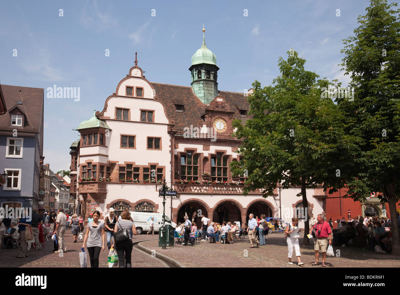 freiburg breisgau baden wurttemberg germany busy square by 16th stock photo royalty free. Black Bedroom Furniture Sets. Home Design Ideas