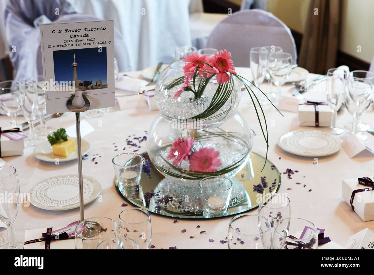 Wedding breakfast reception table decorations closeup table name wedding breakfast reception table decorations closeup table name card and flowers in bowl junglespirit Images