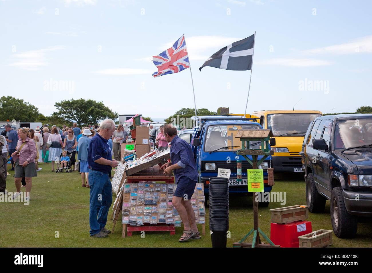 Flohmarkt car boot sale rosudgeon near penzance cornwall england united kingdom