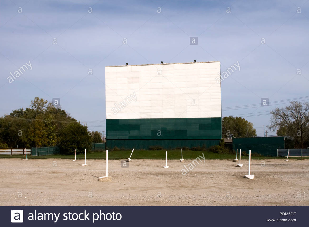 white screen billboard outdoor theater stock photo royalty