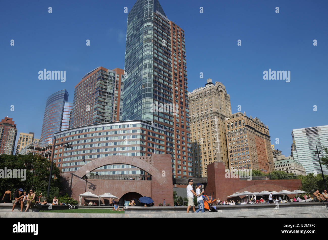 Apartment Buildings And The Ritz Carlton Hotel Overlooki A Park In Battery  Park City, Lower Manhattan