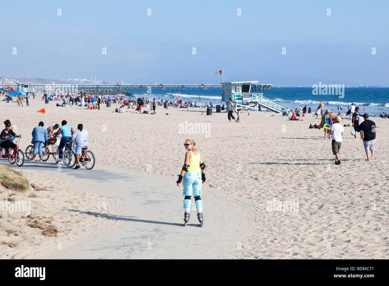 Roller skating los angeles - A Woman Roller Skating Santa Monica Beach In Los Angeles California Usa