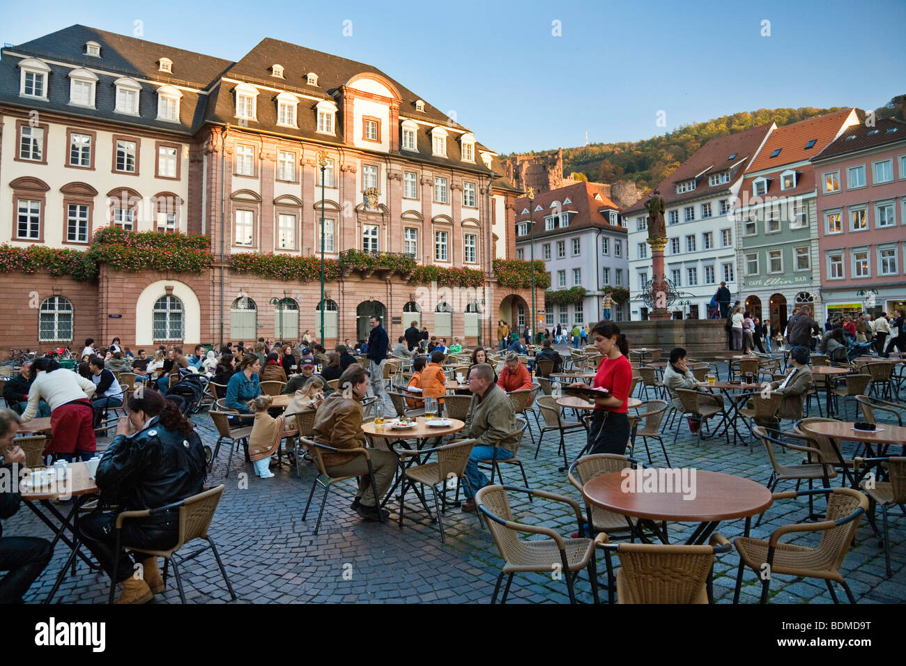 cafe on the marketplace with town hall historic centre of stock photo royalty free image. Black Bedroom Furniture Sets. Home Design Ideas