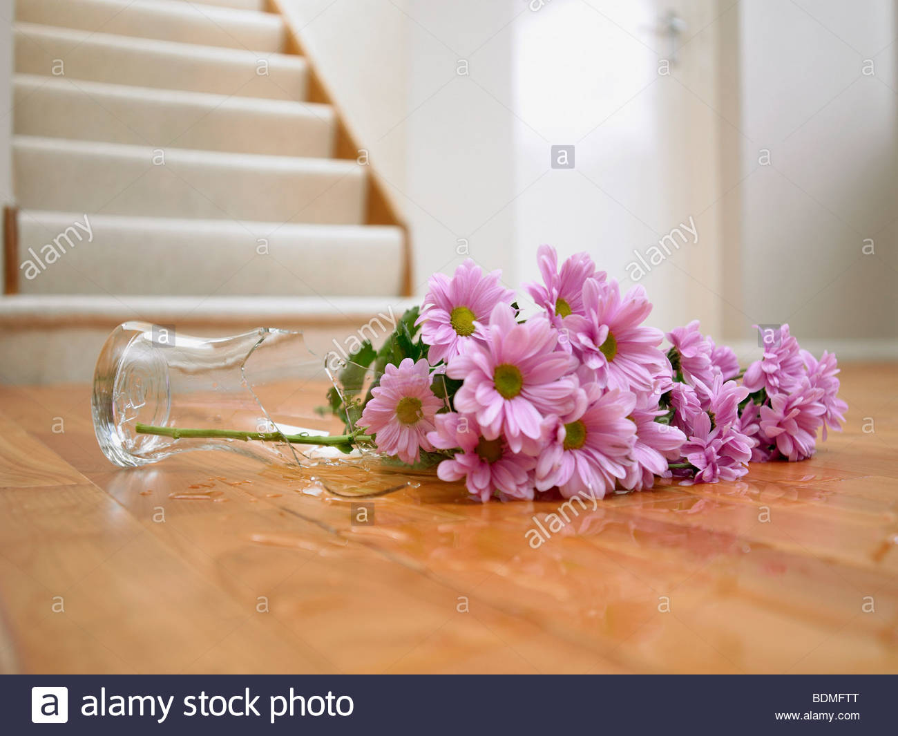 Broken Vase Of Flowers On Floor Stock Photo Royalty Free Image 25652392 Alamy