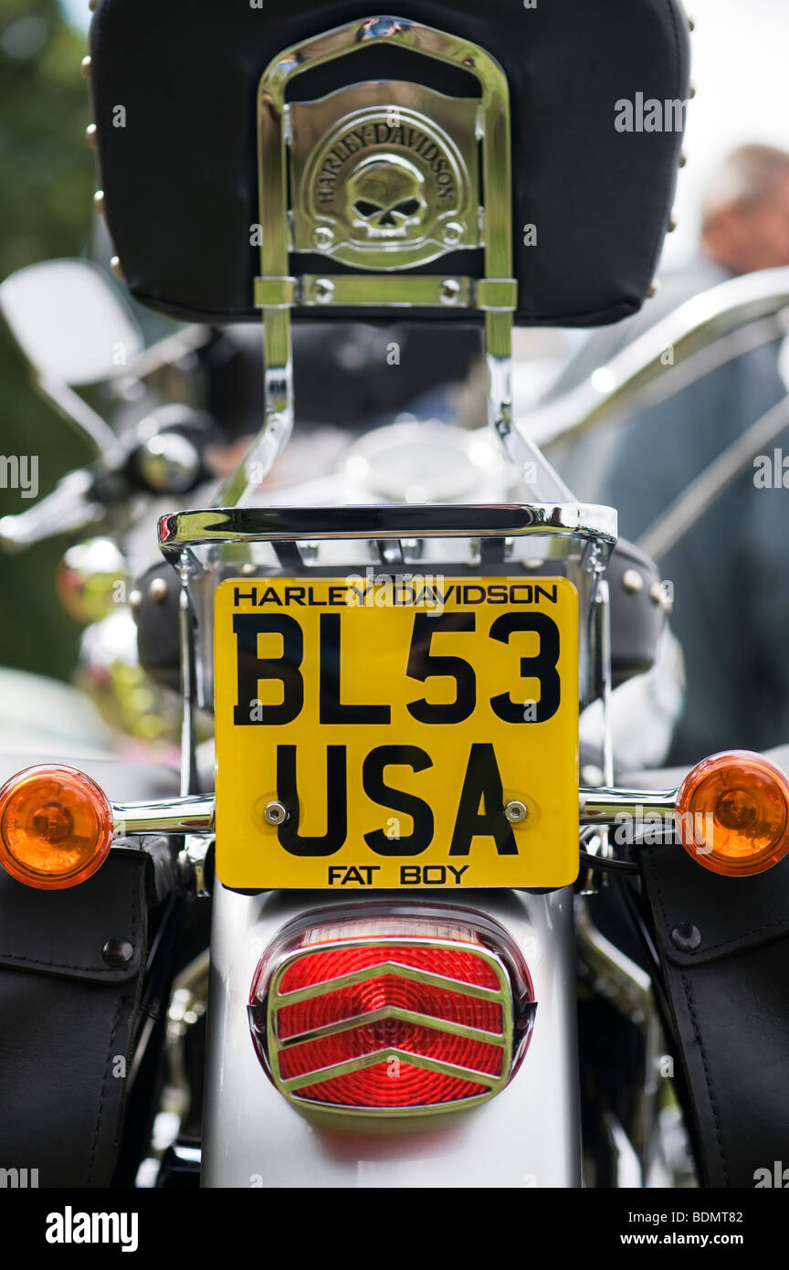 harley davidson motorcycle 'usa' english number plate stock photo