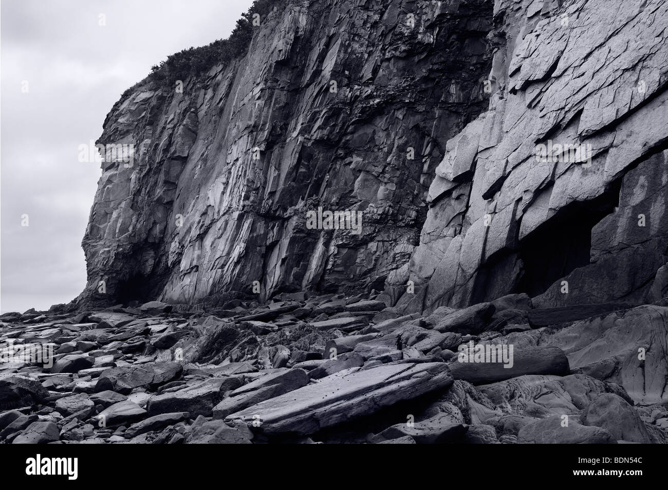 Black and white image of sheer rock cliff face at Cape ...